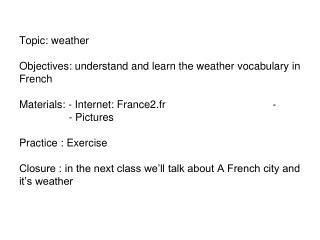 Lexique de la météo