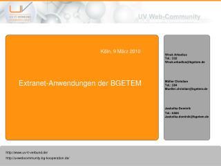 Extranet-Anwendungen der BGETEM