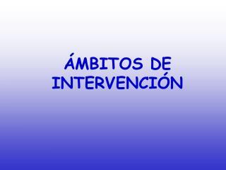 �MBITOS DE INTERVENCI�N
