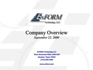 Company Overview September 22, 2000