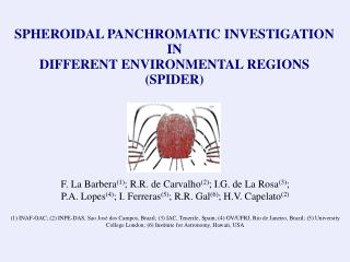 SPHEROIDAL PANCHROMATIC INVESTIGATION  IN  DIFFERENT ENVIRONMENTAL REGIONS (SPIDER)