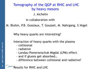 Tomography of the QGP at RHIC and LHC                  by heavy mesons