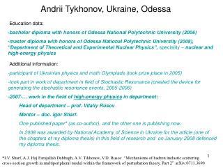 Andrii Tykhonov, Ukraine, Odessa
