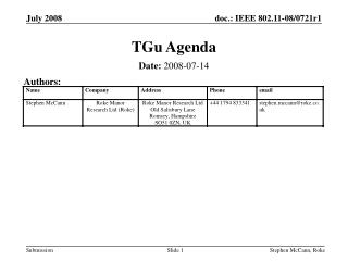 TGu Agenda