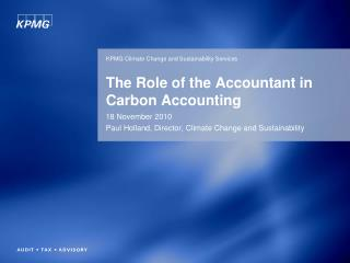 The Role of the Accountant in Carbon Accounting