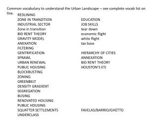 Common vocabulary to understand the Urban Landscape – see complete  vocab  list on line.
