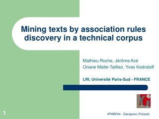 Mining texts by association rules discovery in a technical corpus