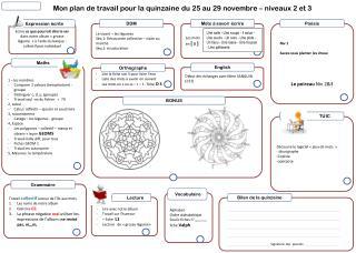 Mon plan de travail pour la quinzaine du 25 au 29 novembre – niveaux 2 et 3