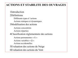 ACTIONS ET STABILITE DES OUVRAGES 1Introduction 2Définitions Différents types d'actions