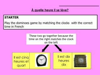 STARTER Play the dominoes game by matching the clocks  with the correct time in French