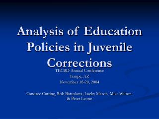 Analysis of Education Policies in Juvenile Corrections