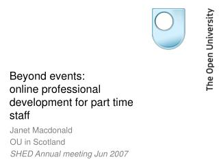 Beyond events: online professional development for part time staff