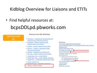 Kidblog Overview for Liaisons and ETITs