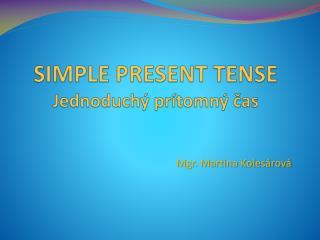 SIMPLE PRESENT TENSE Jednoduchý prítomný čas