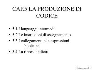 CAP.5 LA PRODUZIONE DI CODICE