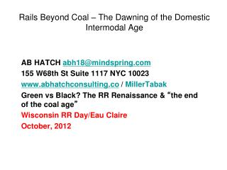 Rails Beyond Coal – The Dawning of the Domestic Intermodal Age