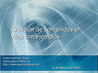 Creación de contenidos en Web con ejemplos