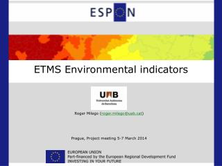 ETMS Environmental indicators
