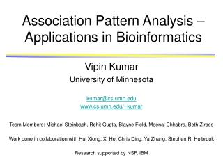 Association Pattern Analysis – Applications in Bioinformatics