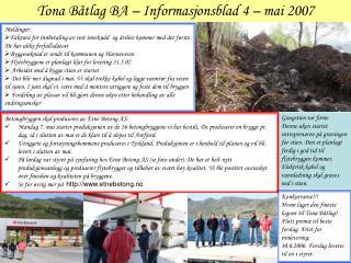 Tona Båtlag BA – Informasjonsblad 4 – mai 2007