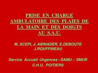 PRISE  EN  CHARGE  AMBULATOIRE  DES  PLAIES  DE  LA  MAIN  ET  DES  DOIGTS   AU  S.A.U.