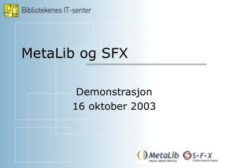 MetaLib og SFX