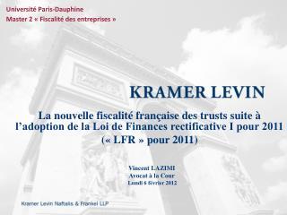 Vincent LAZIMI  Avocat à la Cour  Lundi 6 février 2012
