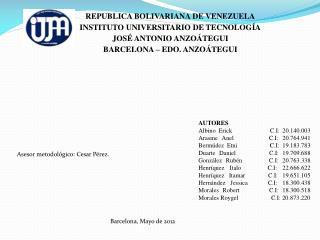 REPUBLICA BOLIVARIANA DE VENEZUELA INSTITUTO  UNIVERSITARIO DE TECNOLOGÍA JOSÉ ANTONIO ANZOÁTEGUI