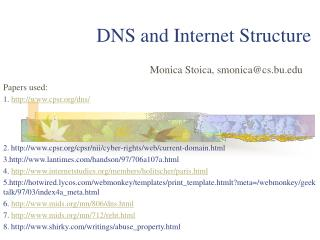 DNS and Internet Structure