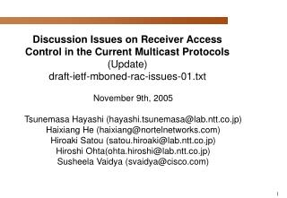 November 9th, 2005 Tsunemasa Hayashi (hayashi.tsunemasa@lab.ntt.co.jp)