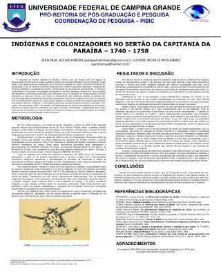 INDÍGENAS E COLONIZADORES NO SERTÃO DA CAPITANIA DA PARAÍBA – 1740 - 1758
