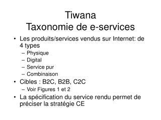 Tiwana Taxonomie de e-services