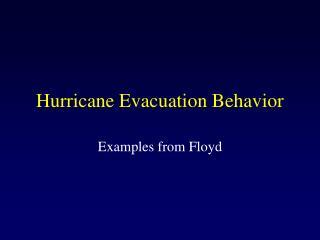 Hurricane Evacuation Behavior