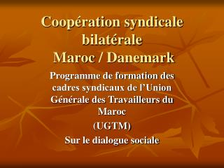 Coopération syndicale bilatérale    Maroc/ Danemark