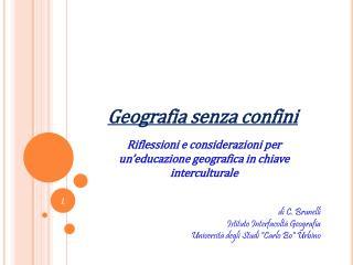 Riflessioni e considerazioni per un educazione geografica in chiave interculturale
