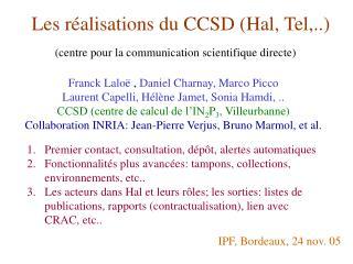 Les réalisations du CCSD (Hal, Tel,..)