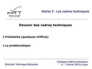 Atelier 5 - Les cadres techniques