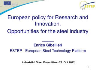 European policy for Research and Innovation.  Opportunities for the steel industry ____