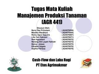 Tugas Mata Kuliah  Manajemen Produksi Tanaman  (AGR 441)