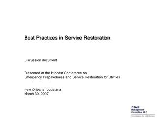 Best Practices in Service Restoration