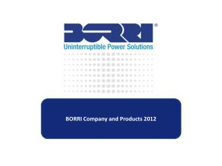 BORRI Company and Products 2012