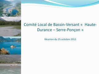 Comité Local de Bassin-Versant « Haute-Durance – Serre-Ponçon» Réunion du 25 octobre 2013