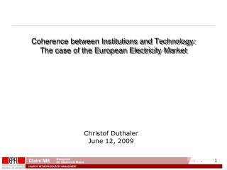 Coherence between Institutions and Technology:  The case of the European Electricity Market