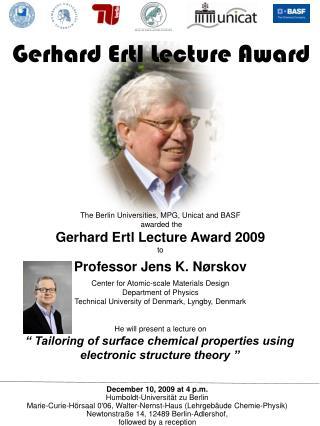 Gerhard Ertl Lecture Award