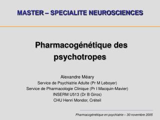 Pharmacogénétique des psychotropes