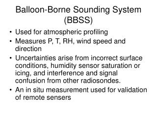 Balloon-Borne Sounding System (BBSS)