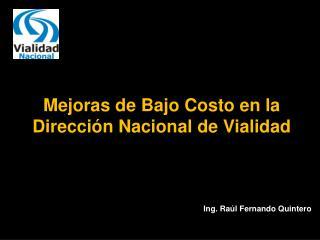 Mejoras de Bajo Costo en la Dirección Nacional de Vialidad