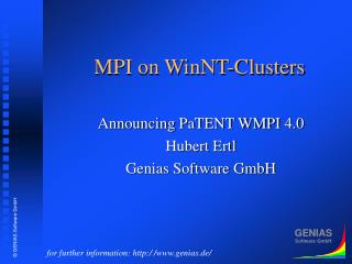 MPI on WinNT-Clusters