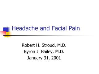 Headache and Facial Pain