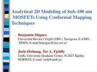 Analytical 2D Modeling of Sub-100 nm  MOSFETs Using Conformal Mapping  Techniques